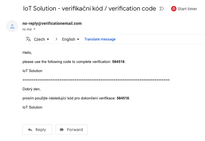 Verification email with confirmation code