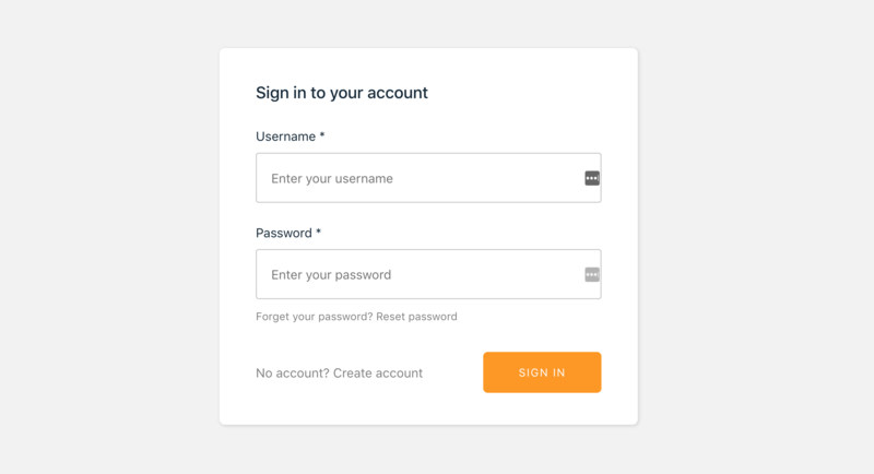 Sign in, login form